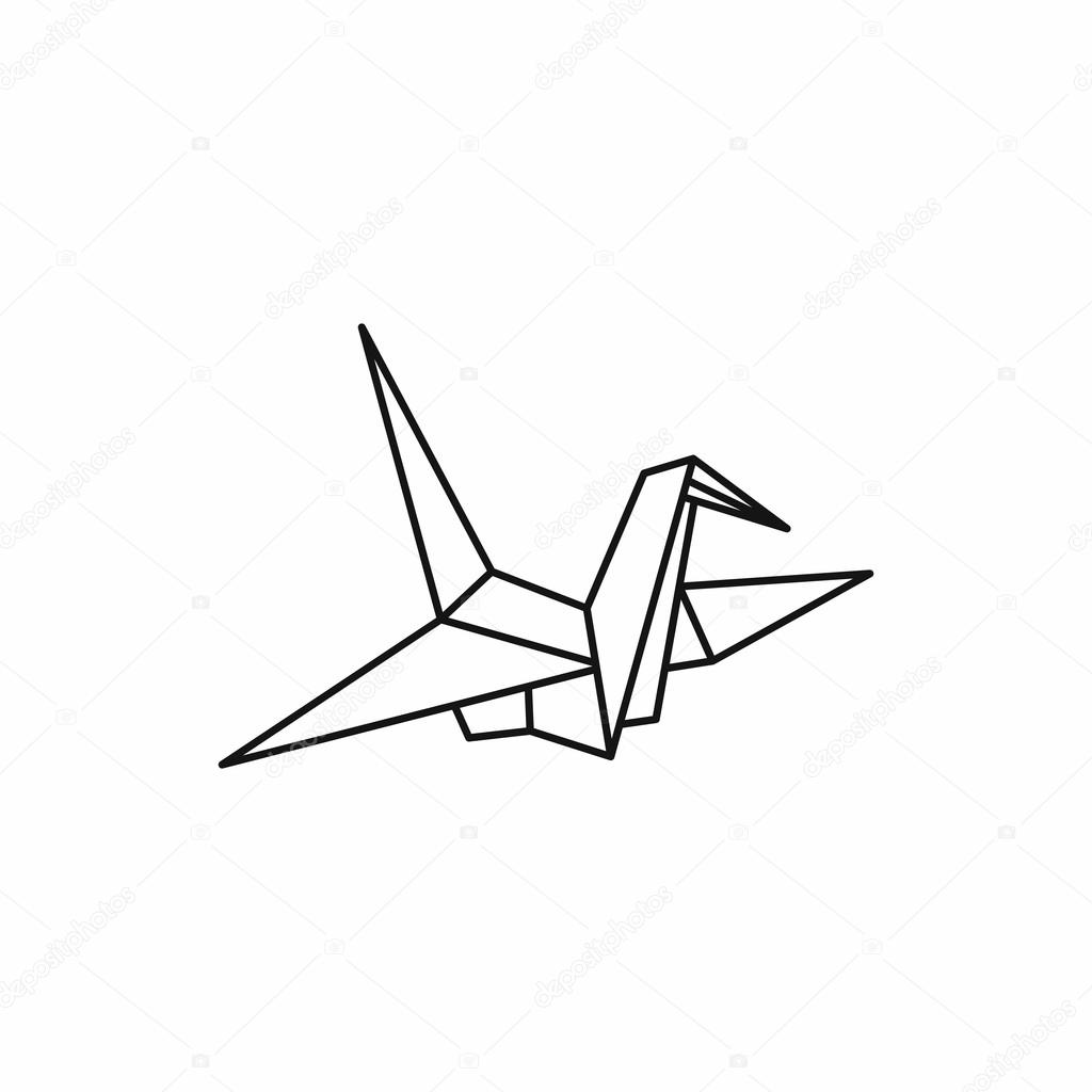 Origami Dove Icon Outline Style Stock Vector