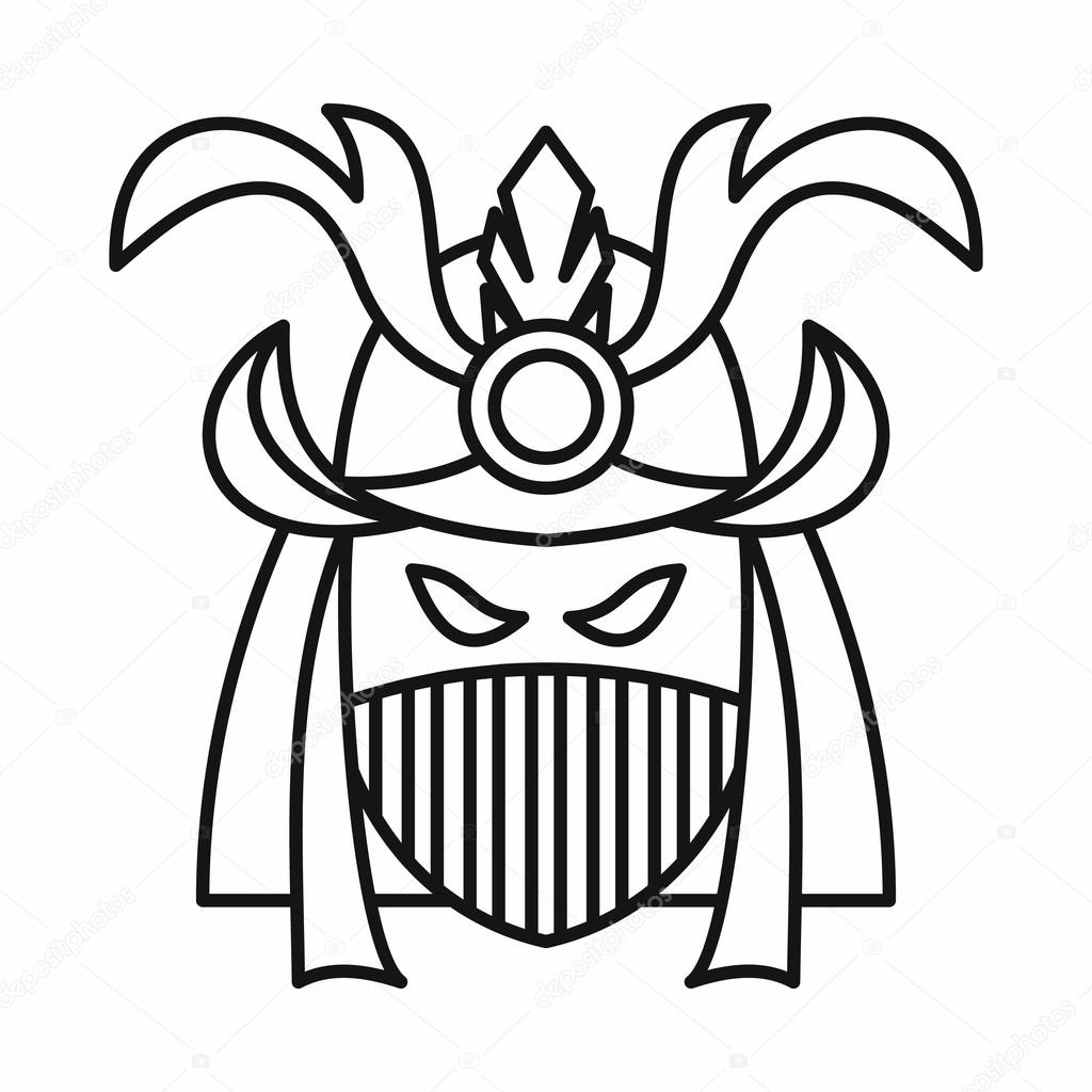 japanese samurai mask icon outline style stock vector ylivdesign 122496488. Black Bedroom Furniture Sets. Home Design Ideas