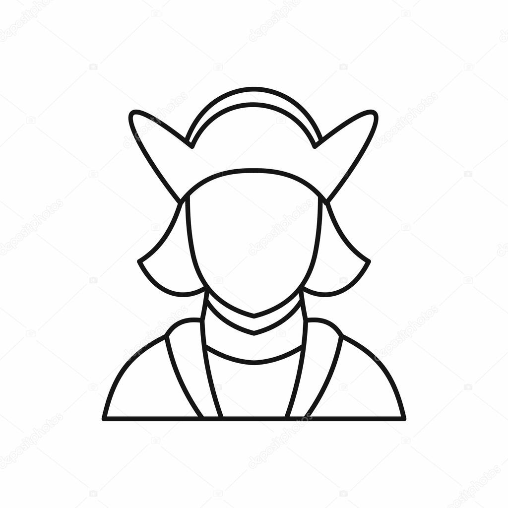 Christopher columbus explorer and discoverer of america in outline style isolated on white background vector illustration vector by ylivdesign