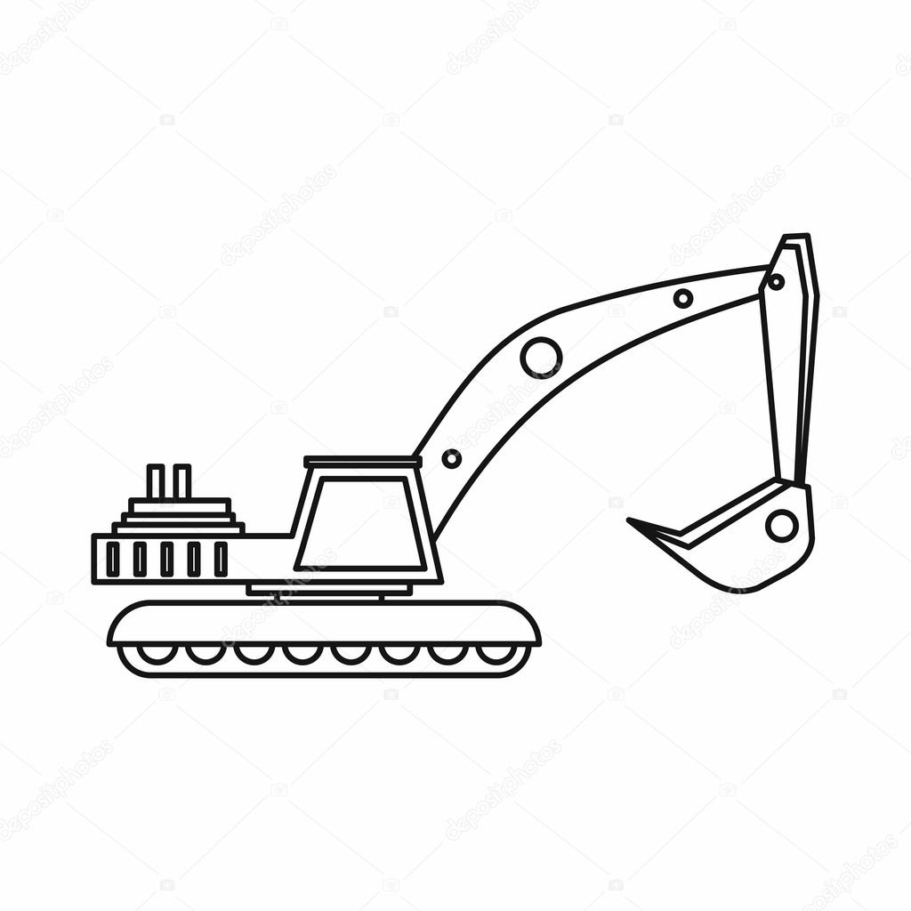 Excavator Icon In Outline Style Stock Vector