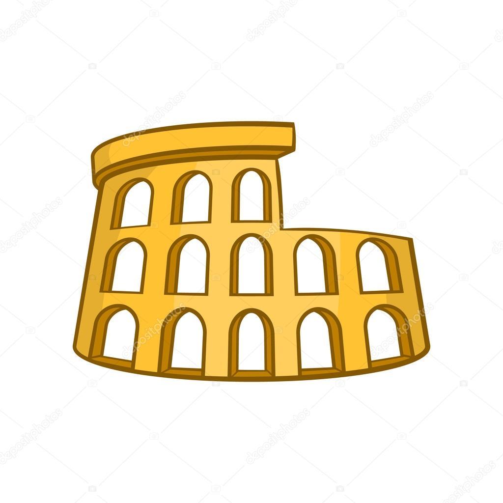 Roman Coliseum Ikon Tecknad Stil Stock Vektor Ylivdesign 123735500