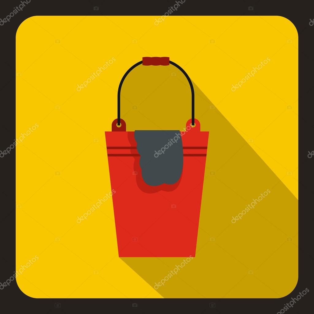Red bucket and rag icon, flat style