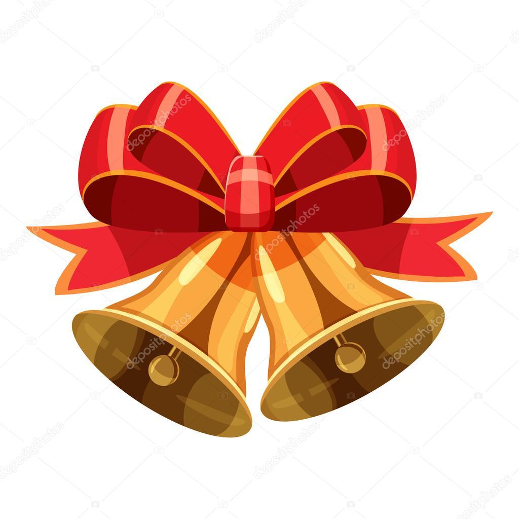 Campanas de navidad con icono de lazo rojo estilo de for Dibujo de lazo de navidad