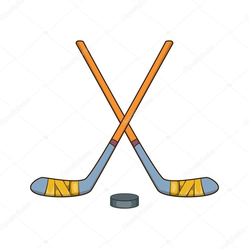 Hockeyklubbor och pucken ikon, tecknad stil — Stock Vektor ...