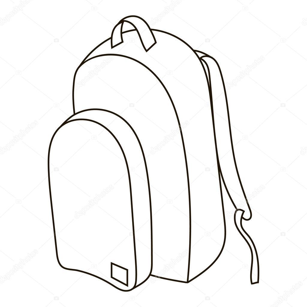 Mochila Con Utiles Para Colorear Icono De La Mochila De Escuela