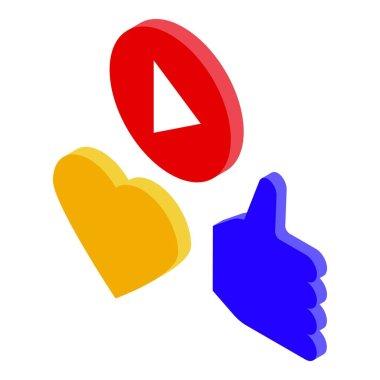 Online marketing video like icon. Isometric of online marketing video like vector icon for web design isolated on white background icon