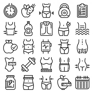 Slimming icons set. Outline set of slimming vector icons for web design isolated on white background icon