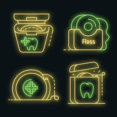 Floss dental icon set. Outline set of floss dental vector icons neon color on black icon