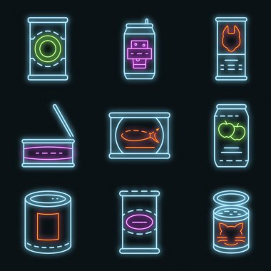 Tin can icon set. Outline set of tin can vector icons neon color on black icon