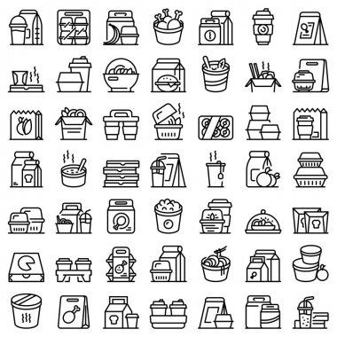 Takeaway food icon. Outline takeaway food vector icon for web design isolated on white background icon