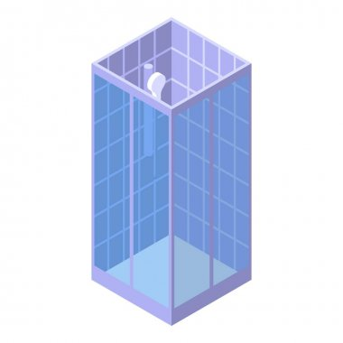 Ceramic shower stall icon, isometric style