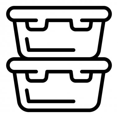 Food containers icon. Outline food containers vector icon for web design isolated on white background icon