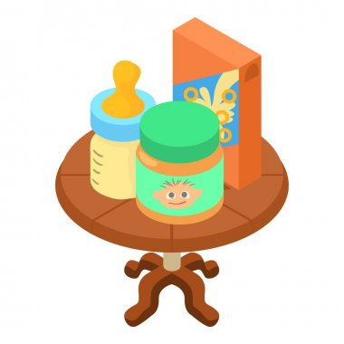 Baby food icon. Isometric illustration of baby food vector icon for web icon