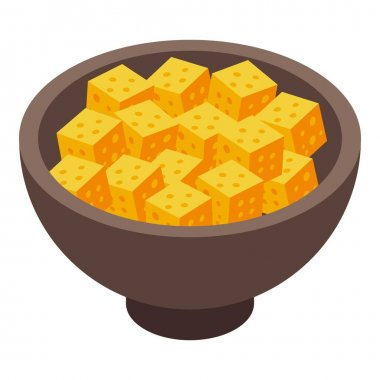 Bowl cheese icon. Isometric of Bowl cheese vector icon for web design isolated on white background icon