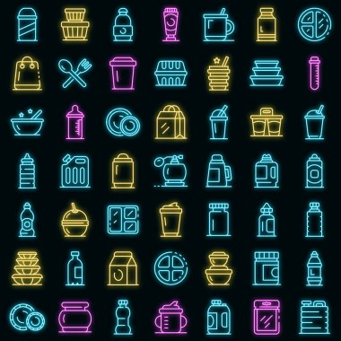 Plastic tableware icons set. Outline set of plastic tableware vector icons neon color on black icon