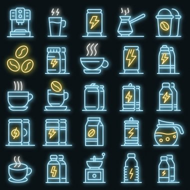 Energetic drink icons set. Outline set of energetic drink vector icons neon color on black icon
