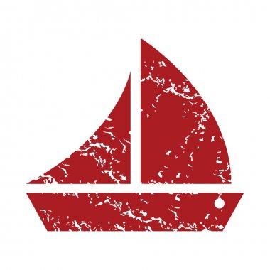 Red grunge ship logo