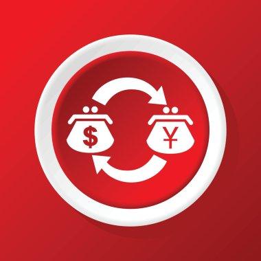 Dollar-yen exchange icon on red