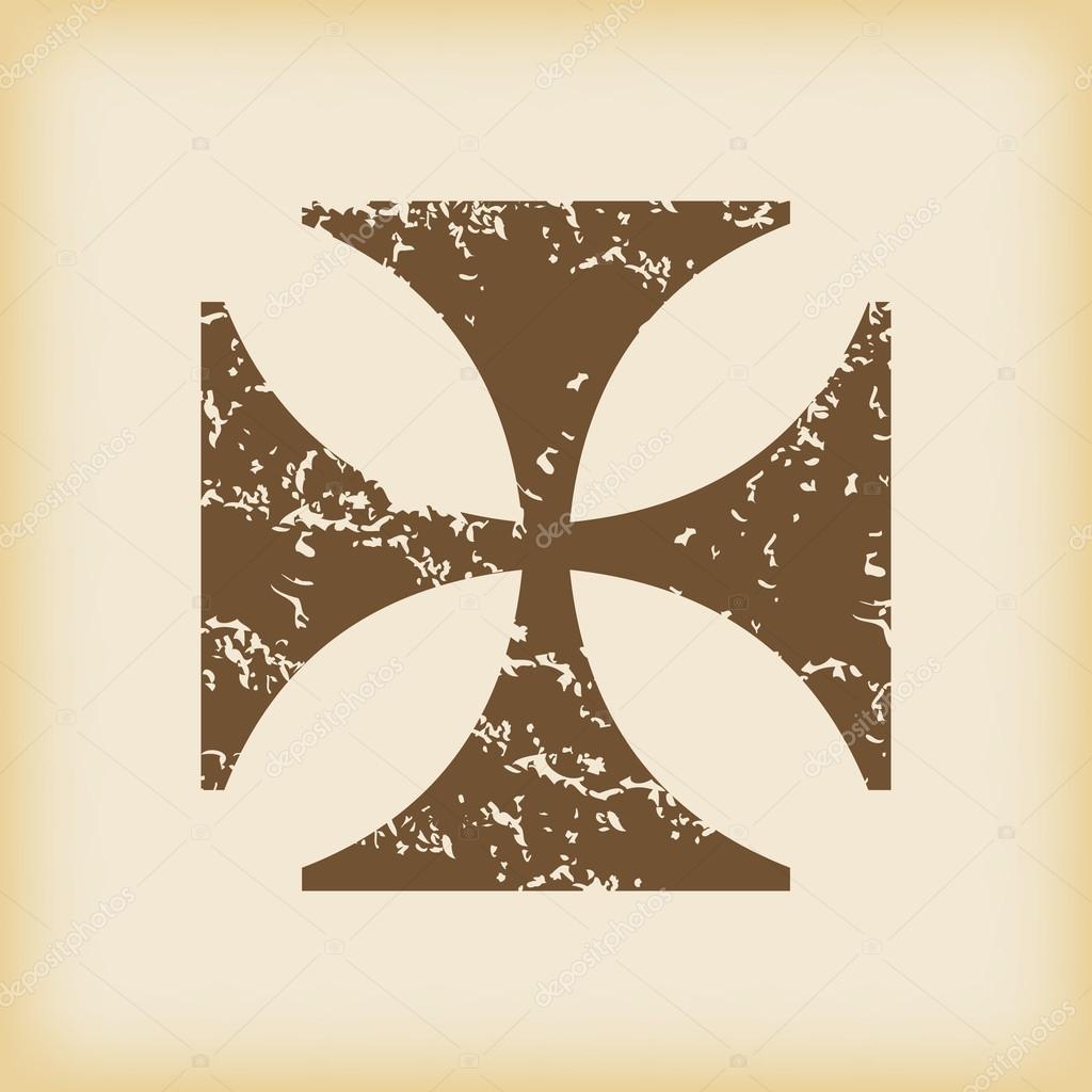 Grungy maltese cross icon