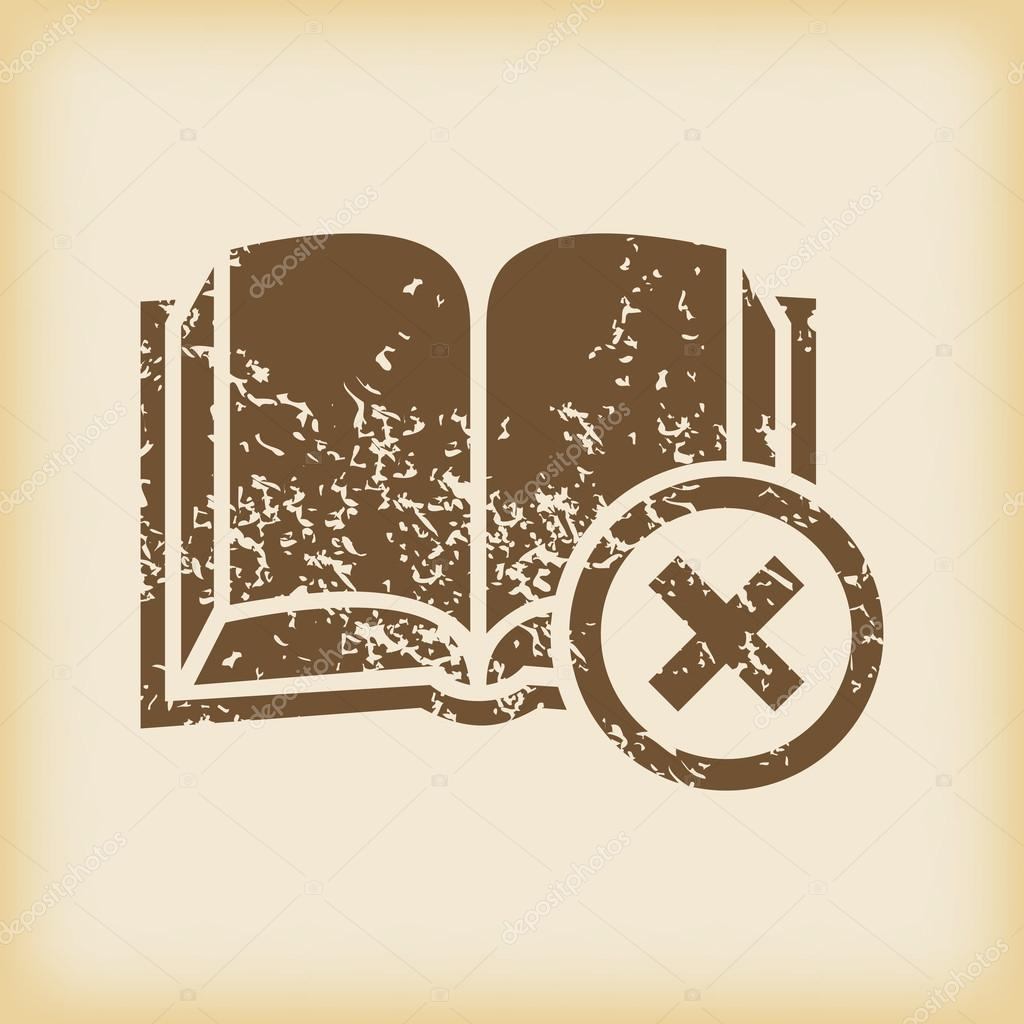 Grungy remove book icon