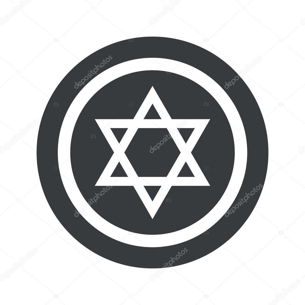 Round black Star David sign