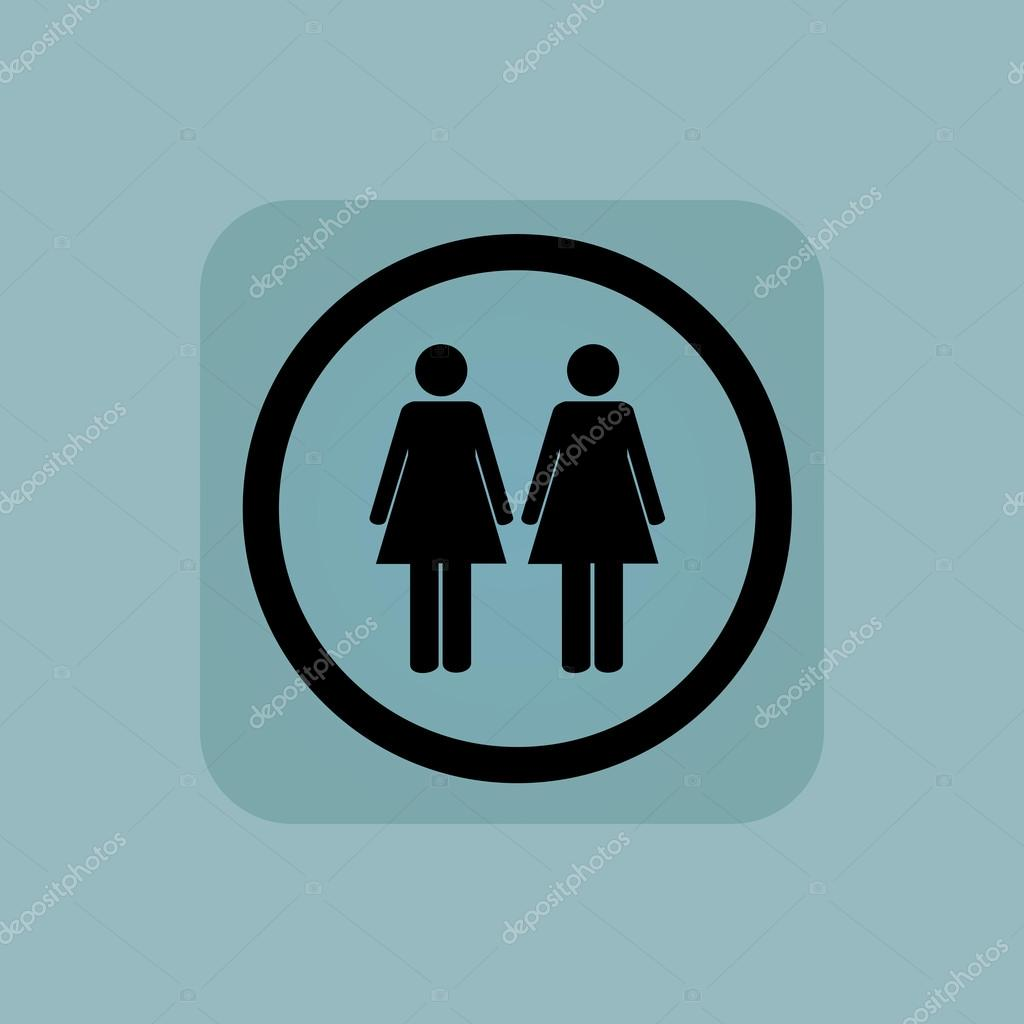 Pale blue two women sign