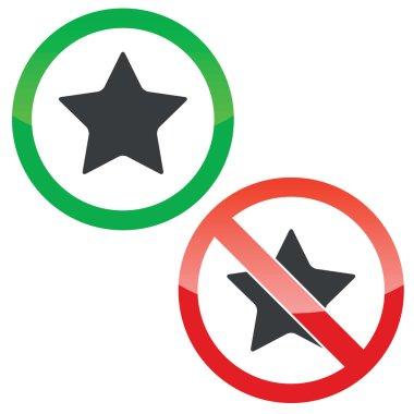 Star permission signs set
