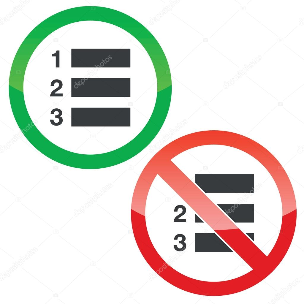 numbered list permission signs set — stock vector © ylivdesign #79503998