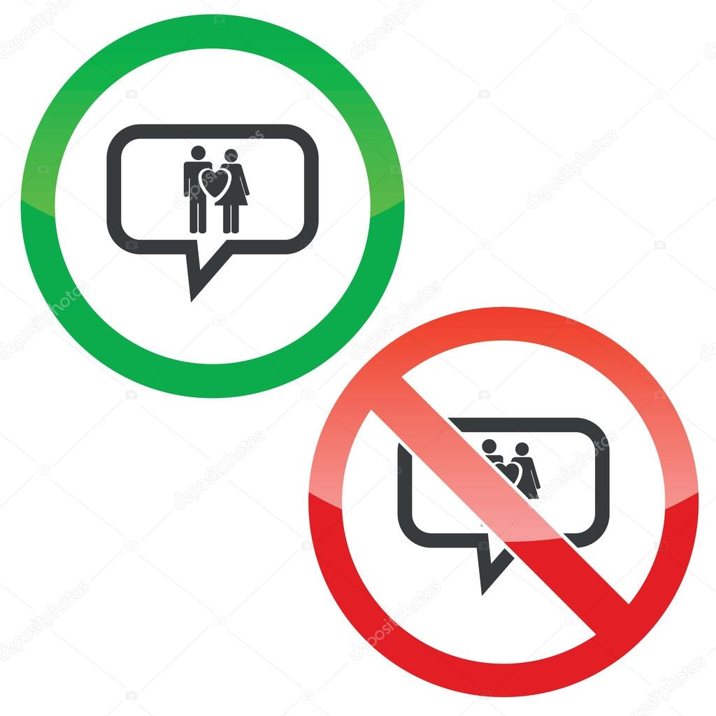 Love couple message permission signs stock vector ylivdesign allowed and forbidden signs with man woman heart in chat bubble isolated on white vector by ylivdesign buycottarizona