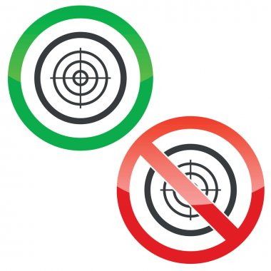 Allowed and forbidden signs with aiming mark in circle, isolated on white stock vector