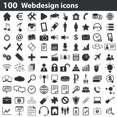 100 webdesign icons set, black, on white background clip art vector