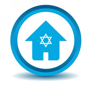 Jewish house icon, blue, 3D, isolated on white clip art vector