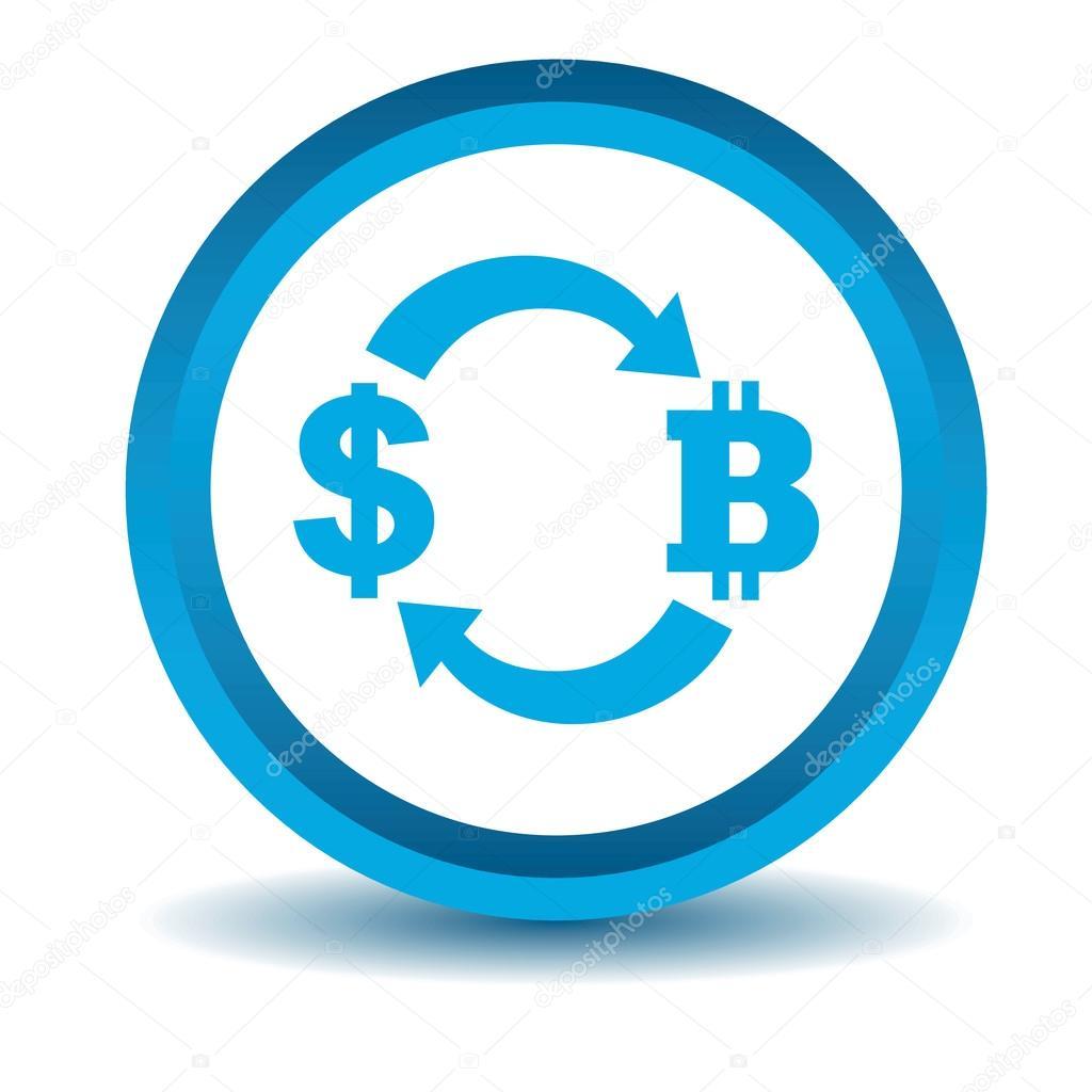 Dollar-bitcoin exchange icon, blue, 3D