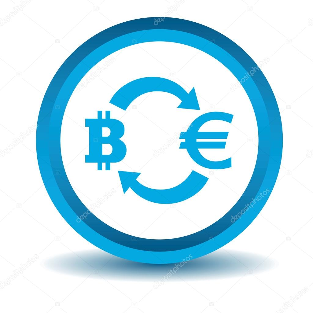 Bitcoin-euro exchange icon, blue, 3D