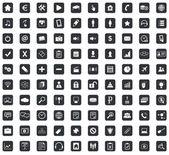 100 Webdesign ikony set, náměstí, černá