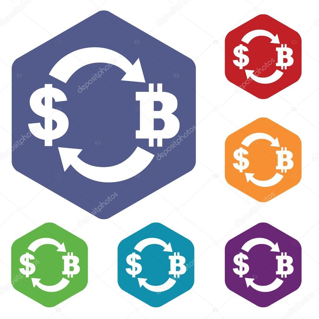 Dollar-bitcoin exchange icon, hexagon set