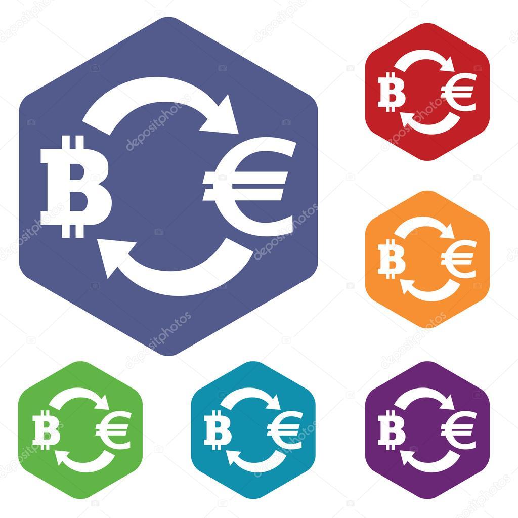 Bitcoin-euro exchange icon, hexagon set