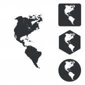 Sady ikon americké kontinenty, černobílá