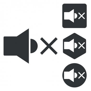 Muted sound icon set, monochrome