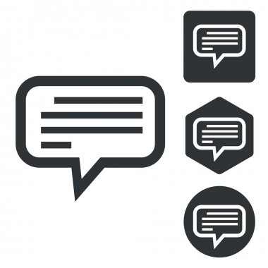 Text message icon set, monochrome