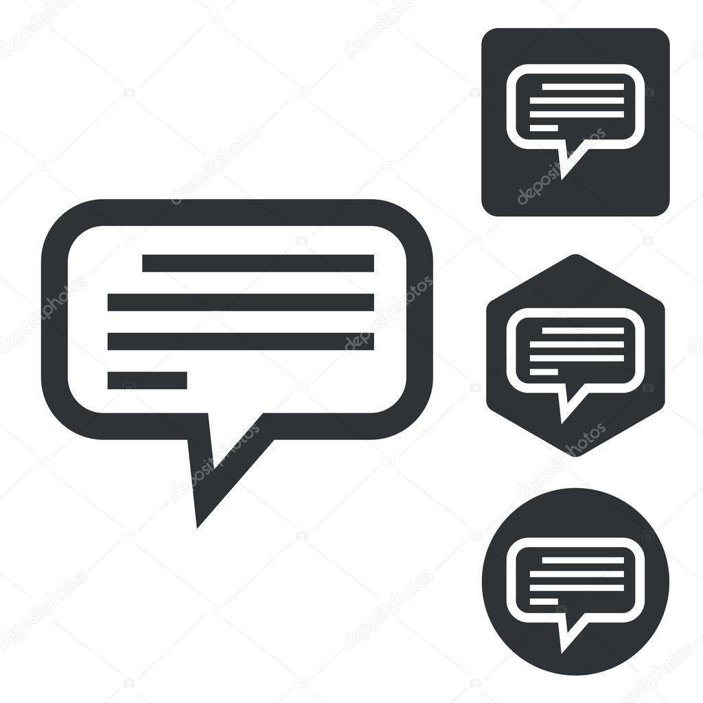 Text message icon set, monochrome