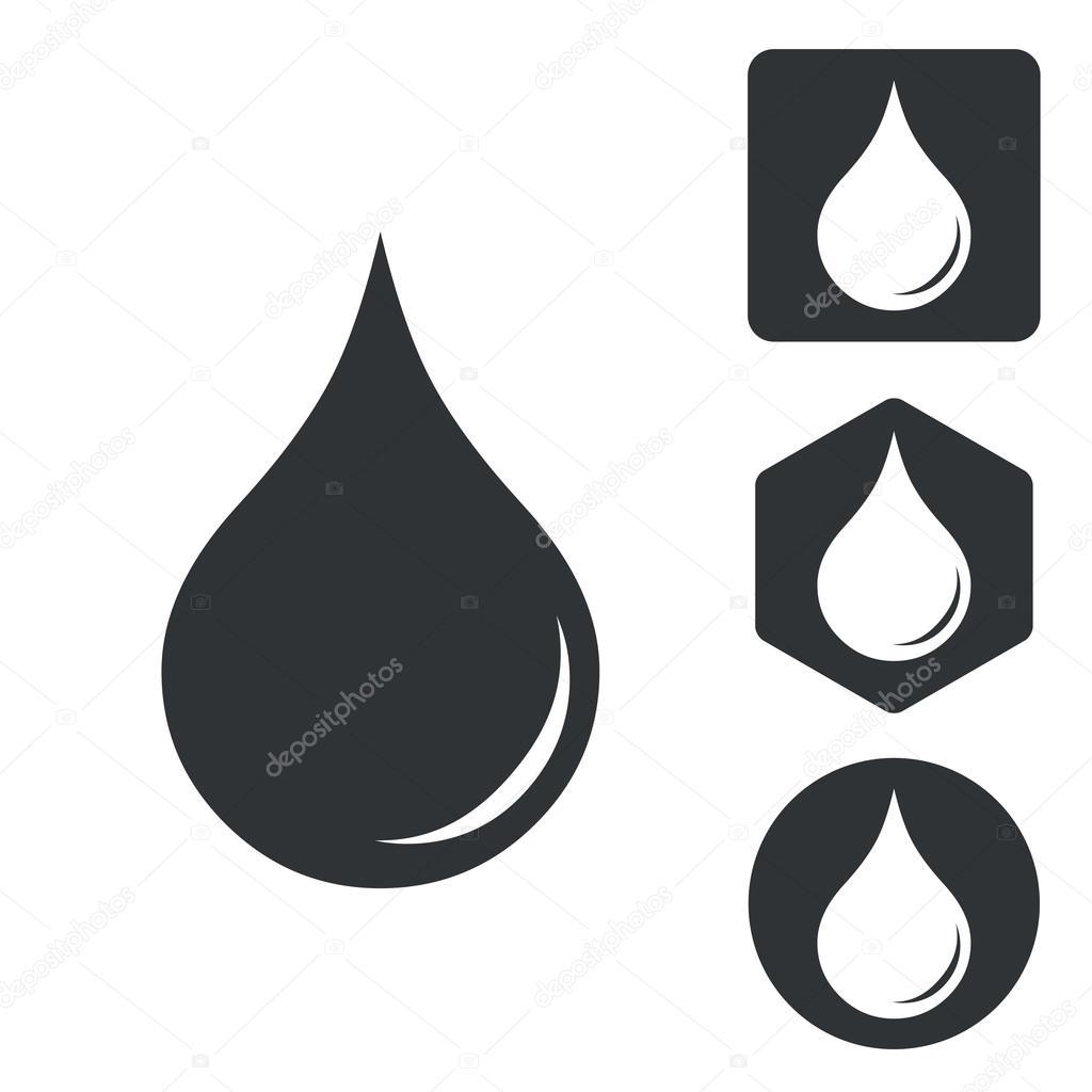 Water drop icon set, monochrome