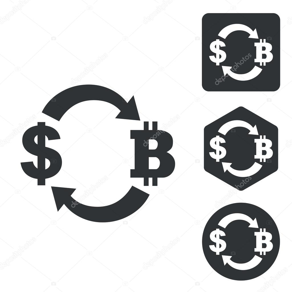 Dollar-bitcoin exchange icon set, monochrome