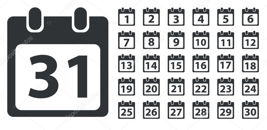 Blank Calendar Day Icon : Kalender dag pictogram set monochroom — stockvector