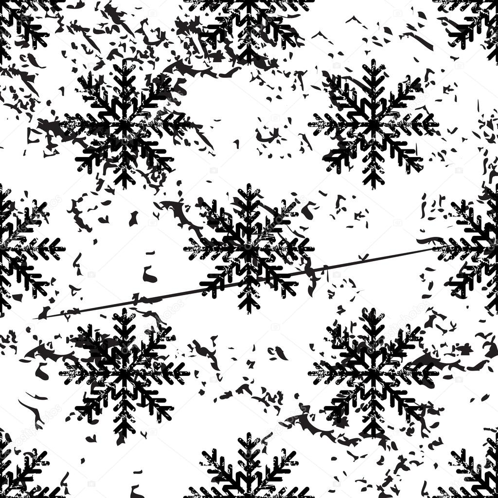 Snowflake pattern, grunge, monochrome