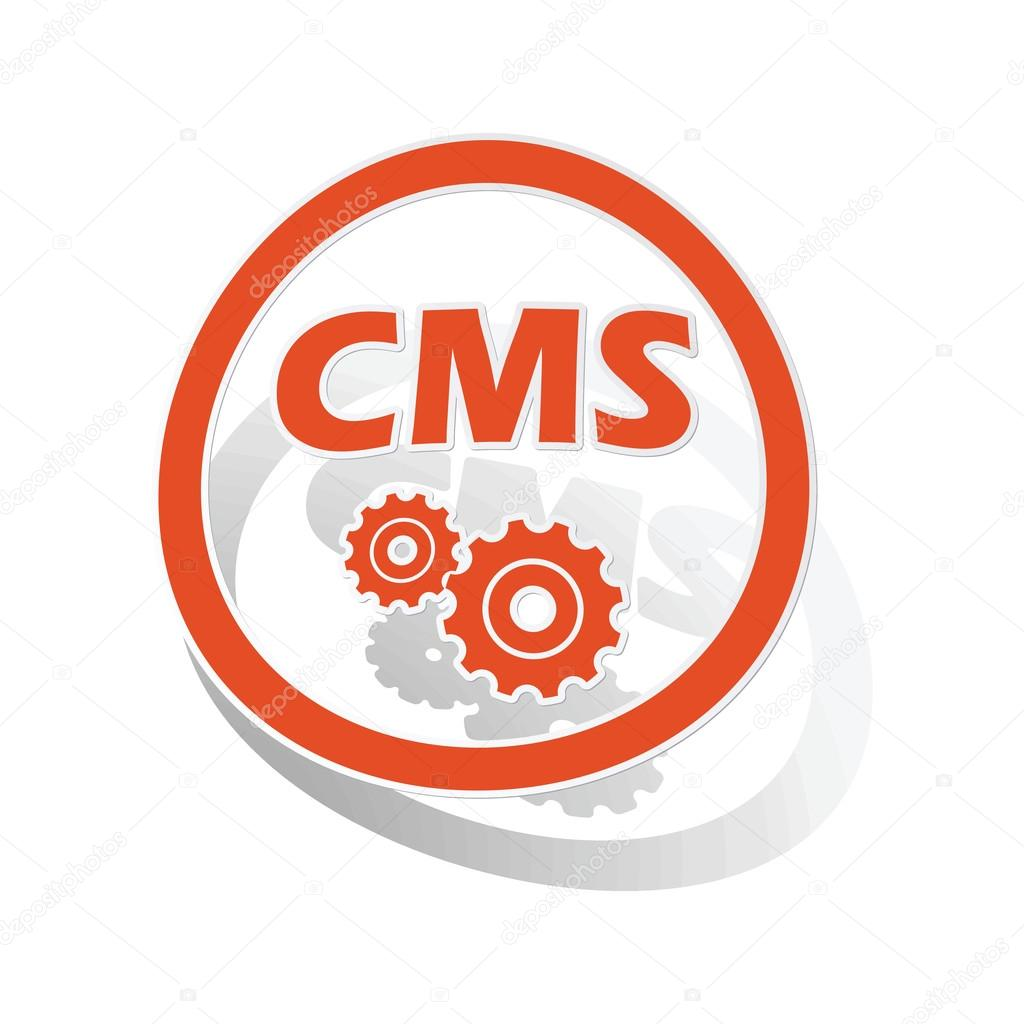 CMS settings sign sticker, orange