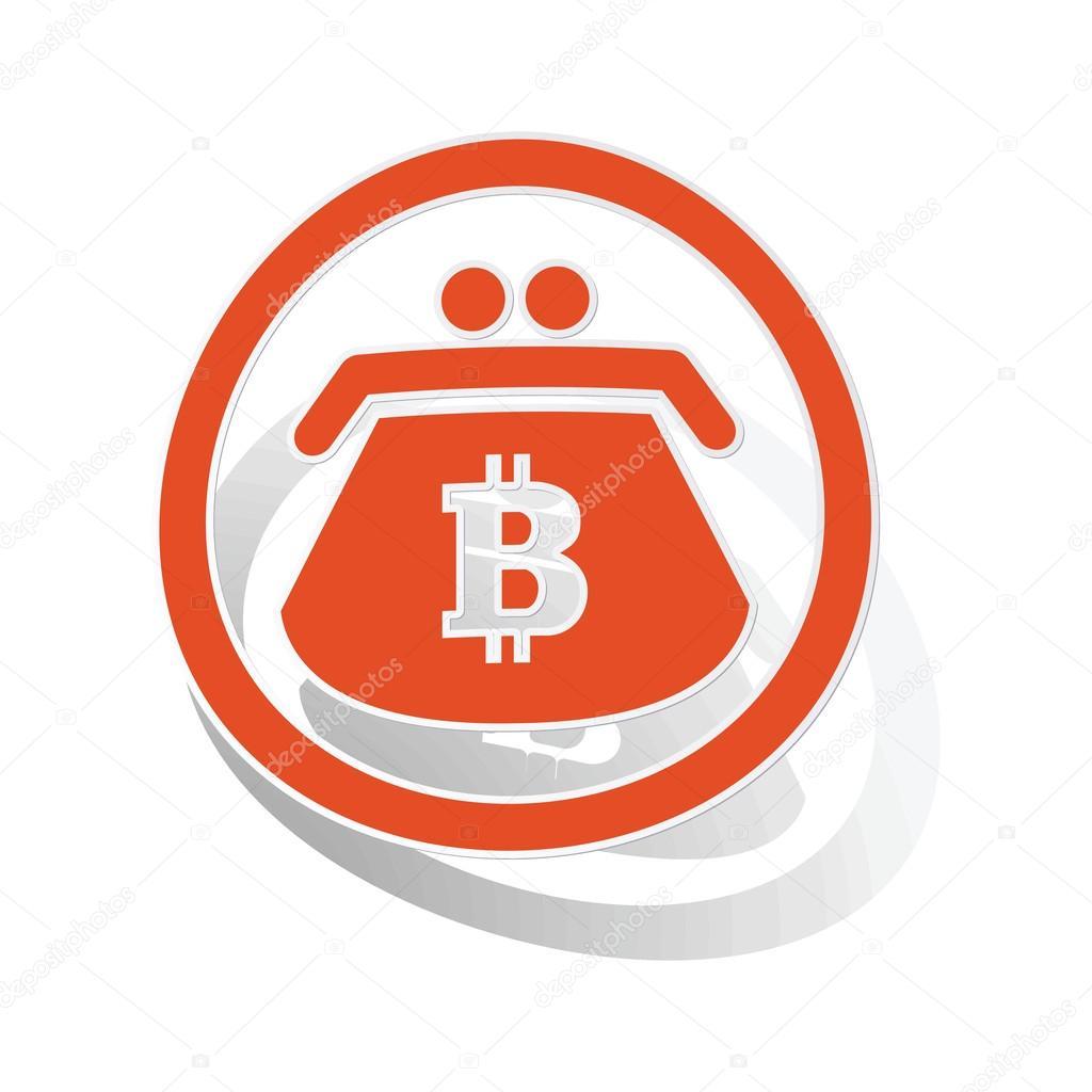 Bitcoin purse sign sticker, orange