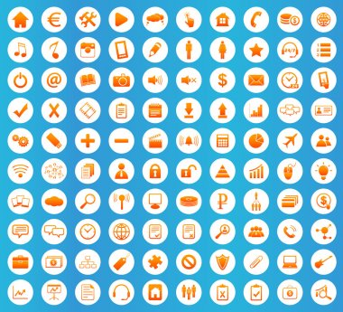 Webdesign icons set, orange image in white circle on blue background clip art vector