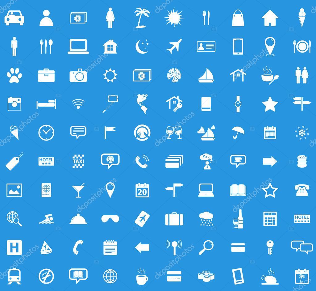 100 Travel icon set