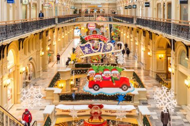 MOSCOW, RUSSIA - DECEMBER 4, 2020: New Year and Christmas decoration of the GUM in Moscow, Russia. Christmas and New Year Interior of the Main Universal Store in Moscow. Christmas fairy tale in Moscow.